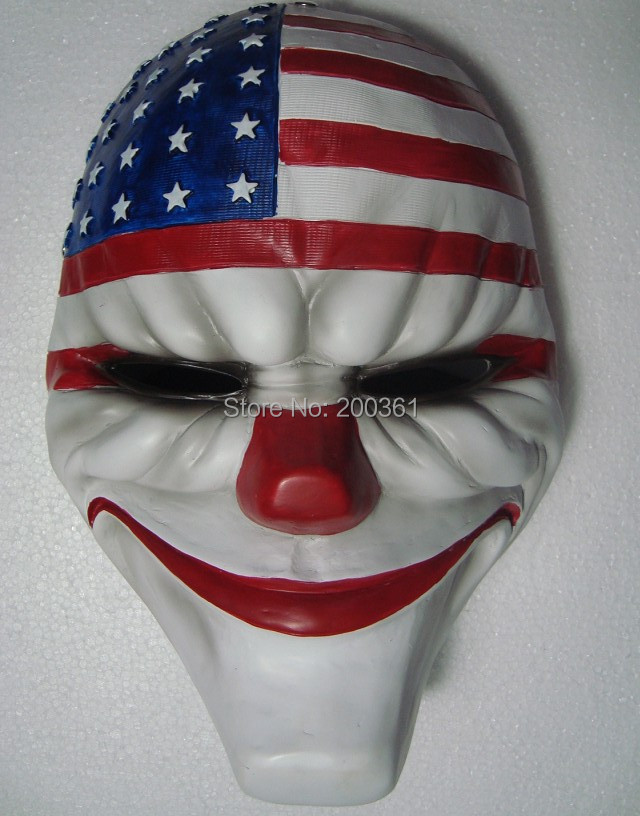 payday dallas US National flag mask Heist joker clown costume Adult Party Head Prop Halloween Masquerade Cosplay Fancy - happy123store store