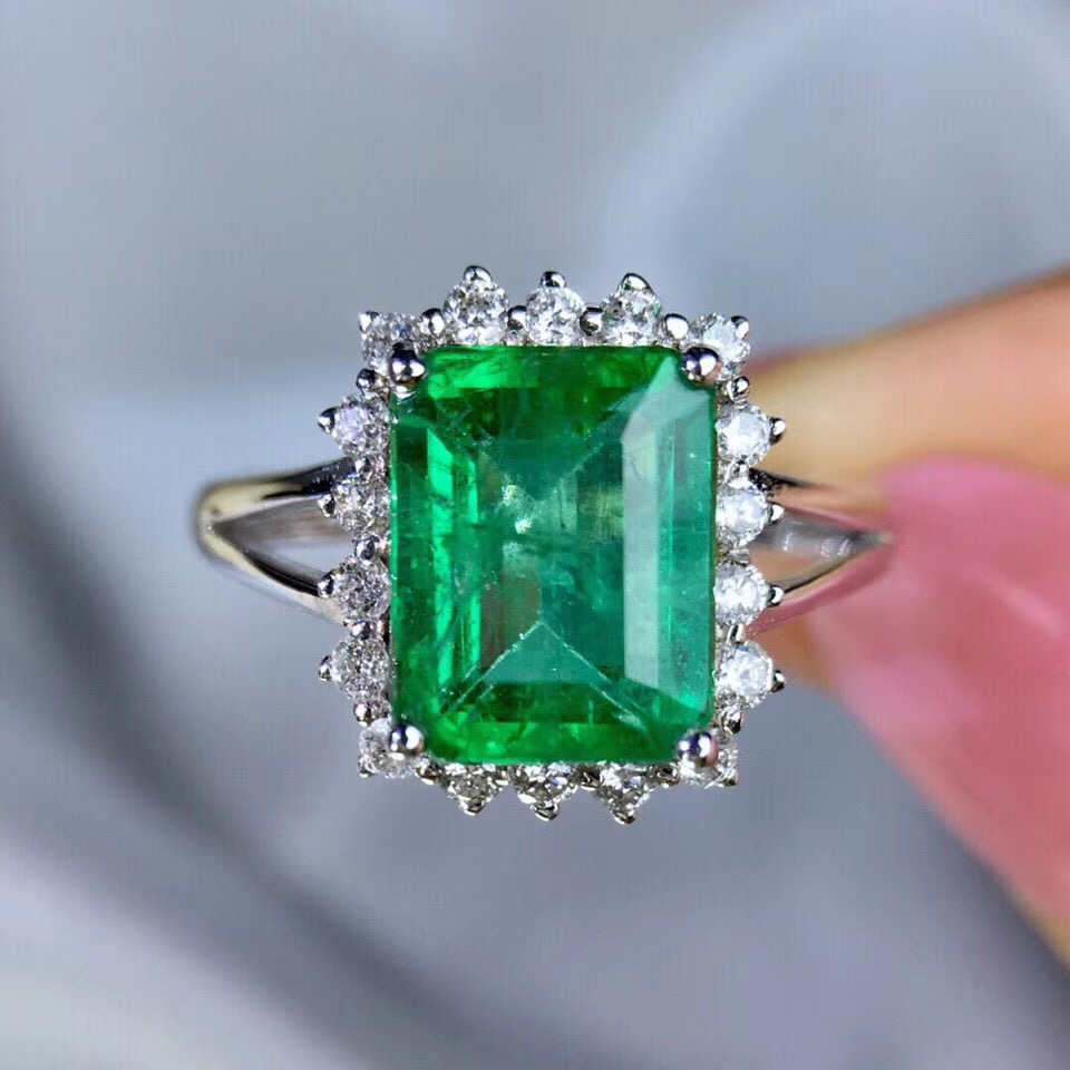 Perfect AAA Columbia Lab Created Emerald Engagement Ring Set with Moissanite Solid 14k White Gold Wedding Ring for Woman fine jewelry colombian aaa lab created emerald engagement wedding ring in solid 14k white gold support for custom jewelry