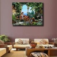 Omlijst Tiger & Sex Meisjes ts Acryl Schilderen Op Canvas Handgeschilderde Home Decor Foto Kunstwerk DIY Schilderij van Nummers