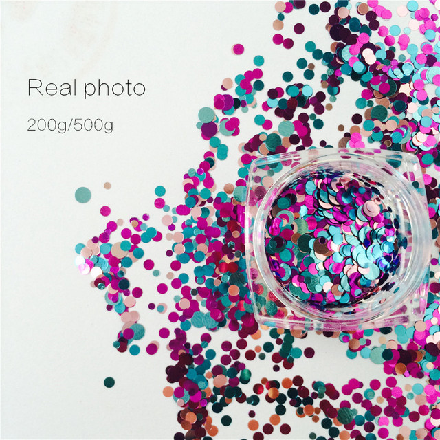 200g/500g Colores de La Mezcla FORMAS de PUNTO REDONDO GLITTER Ronda Paillette Lentejuelas Nail Art Decoraciones de Uñas Glitter Manicura Esmalte de Uñas de Gel