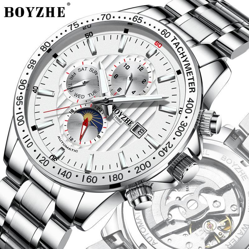 Original BOYAZHE Fashion Multifunction Men Watch Top Brand Automatic Watch Men 24hours calendar week Luminous Mechanical