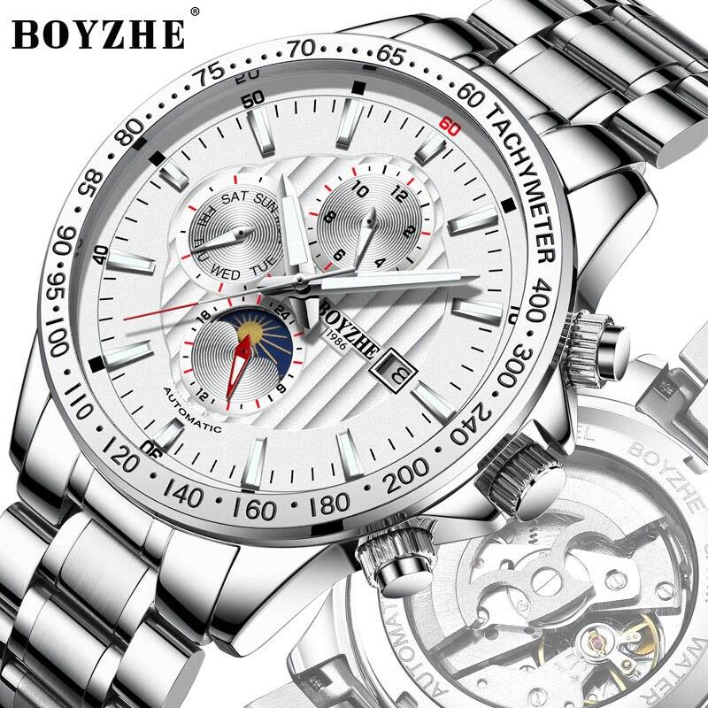 オリジナル BOYZHE ファッション多機能メンズ腕時計トップブランド腕時計自動男性 24 時間カレンダー週発光機械式時計  グループ上の 腕時計 からの 機械式時計 の中 1