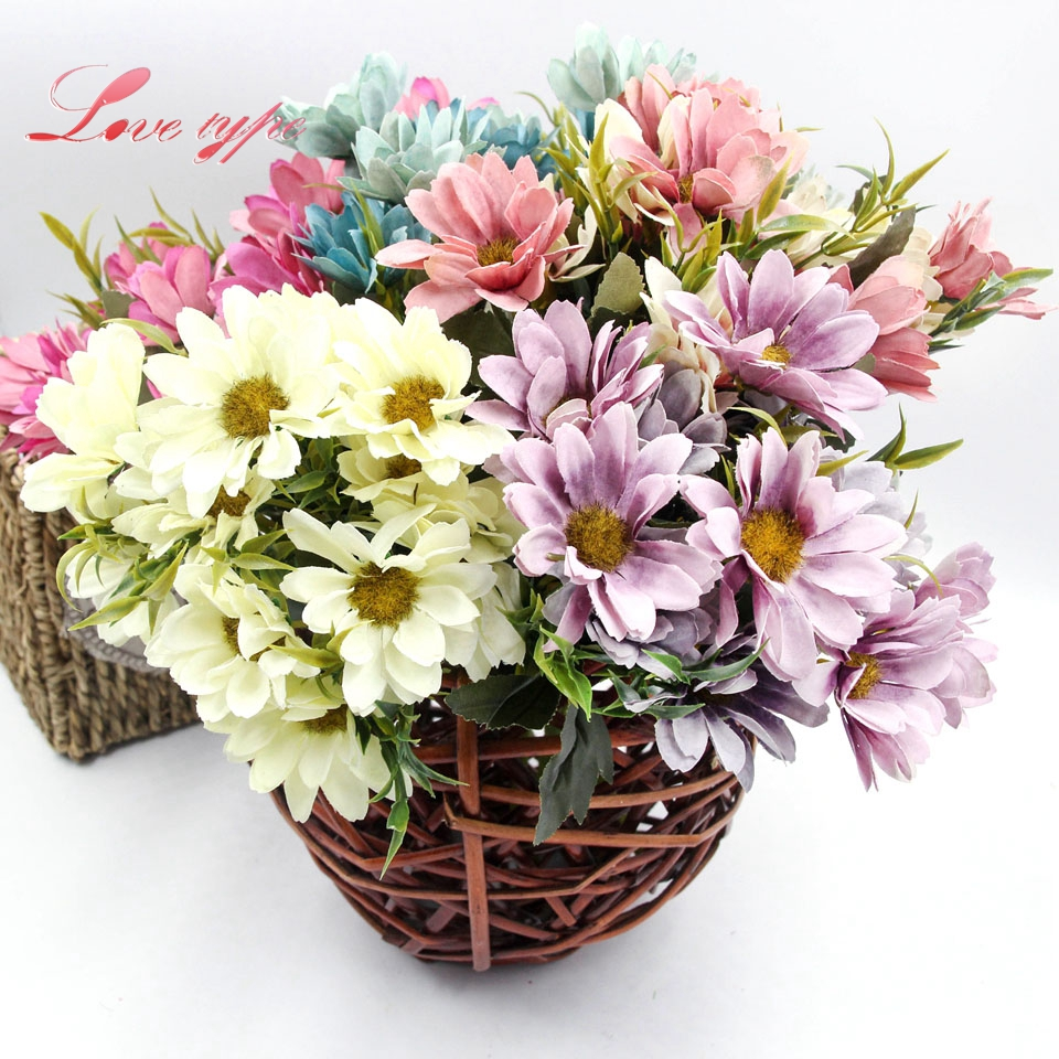 1bunch pretty artificial silk flowers european style daisy flower 1bunch pretty artificial silk flowers european style daisy flower wedding favors decor home garden diy decorations in artificial dried flowers from home mightylinksfo