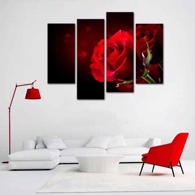 4 Pezzi Dipinti di Fiori Moderno Sfondo Nero con Rosa Rossa Stampa ...
