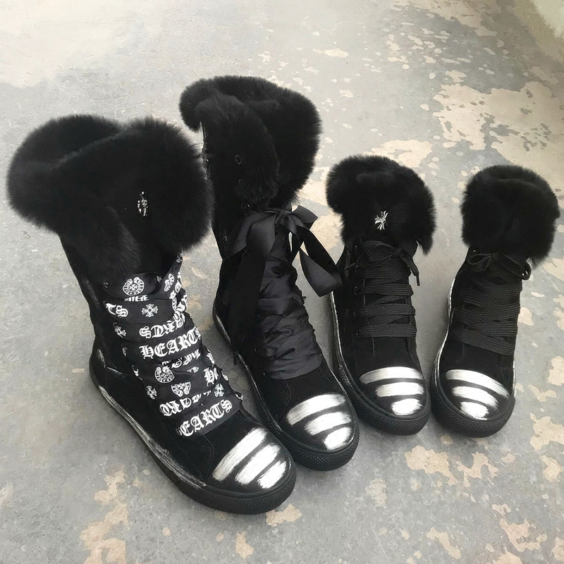 Brand Chic Snow Boots Fur Warm Winter Women Shoes Short Booties Women Flats Lace Up Mid-calf Boots Graffiti Zapatos Mujer TrendyBrand Chic Snow Boots Fur Warm Winter Women Shoes Short Booties Women Flats Lace Up Mid-calf Boots Graffiti Zapatos Mujer Trendy