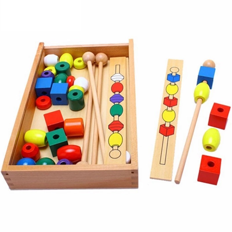 Montessori para crianças do miúdo brinquedos educativos de madeira forma colorida vara beading brinquedos presentes para o bebê 2 ano transporte a partir de rússia