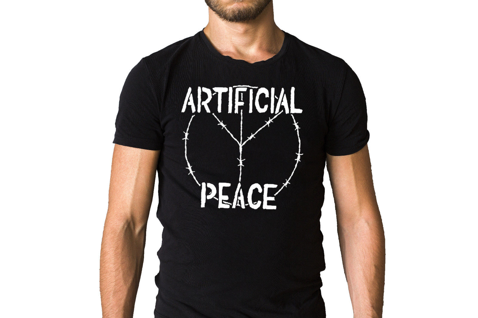 Artificial Peace Punk Band Iconic Barb Wire Peace Sign Logo Black T ...