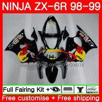 Body For KAWASAKI NINJA ZX-6R 6 R 98 99 glossy black ZX-636 ZX600 78SH10 600CC ZX636 ZX6R 98 99 ZX 636 ZX 6R 1998 1999 Fairings