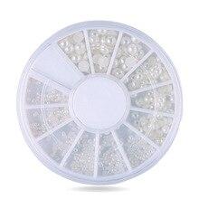 цена на DIY nail art decorations Wheel 2mm 3mm wihte semicircle pearl Nail Glitter Nail Rhinestones Nail Wheel Nail Tools