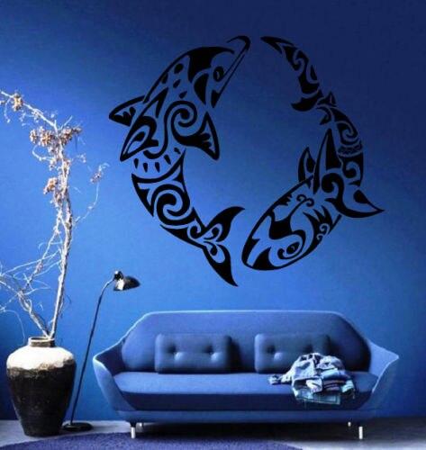 Dolphin And Shark Ornament Nautical Beach House Decor Wall