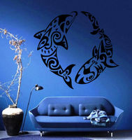Dolphin and Shark Ornament Nautical Beach House Decor Wall Vinyl Sticker