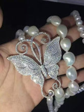 wow! 2rows freshwater pearl white baroque near round  butterfly pendant necklace 35-3835-38inch