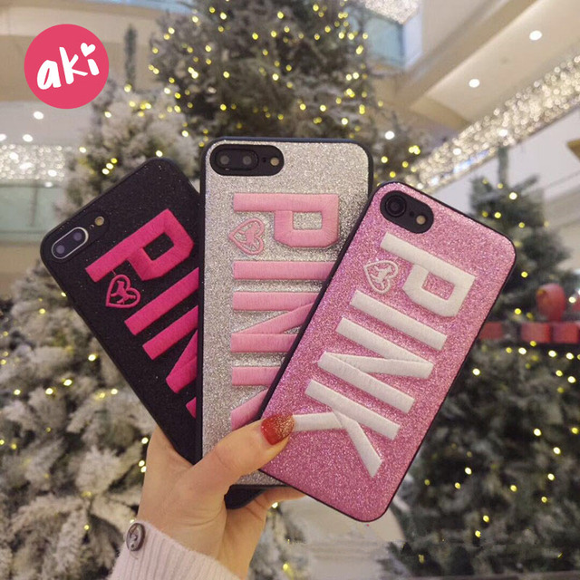 pretty nice edf2b a4401 US $1.49 20% OFF|AKI Embroidery Glitter Case for iPhone 7 8 Plus Case  Luxury Bling Letter PINK Soft TPU Cover for iPhone X 6 6S Plus Case-in  Fitted ...