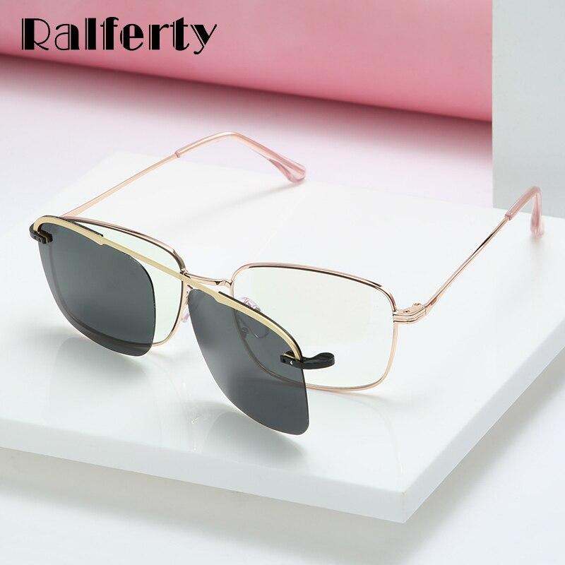 Ralferty Clip On Glasses Women Men Magnetic Sunglass Polarized Metal Frame Optic Myopia Prescription Sunglasses Driver 2019 D063