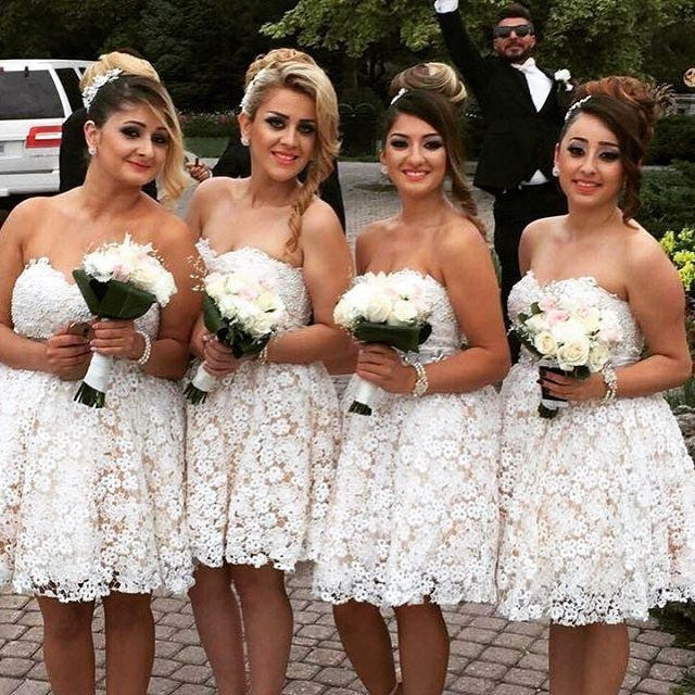 Fashion Country Western Full Lace Short Bridesmaid Dresses 2017 A Line  Sweetheart Sleeveless Wedding Party Formal Wear Custom 3297320c50aa