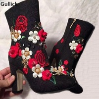 Real Photo High Quality Black Ankle Boots Crystal Flower Boots Thick Heel Jeweled Embroidery Hot Selling For Women 2018
