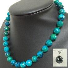 Ювелирные изделия 10 мм Азурит Грановитая Круглые Бусины женщины diy Ожерелье 18 esrring набор