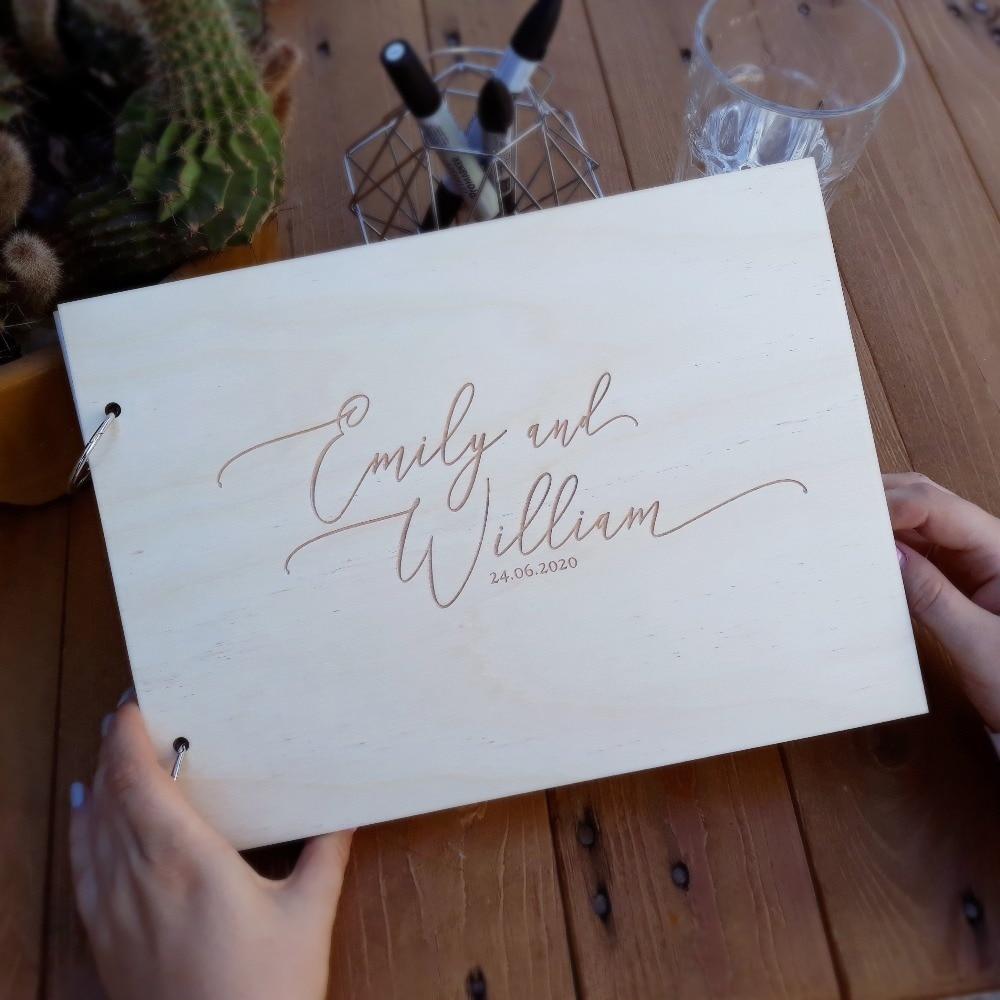 Wedding Guest Book Wooden Guest Book Rustic Black Printing Guestbook Wedding Memory Engraved Guest Book Custom Guest Book
