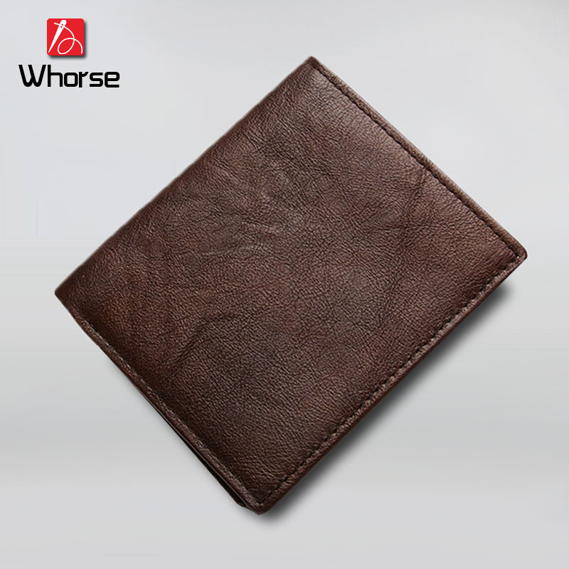 [WHORSE] Brand Genuine Cowhide Leather Men Wallet Short Coin Purse Small Vintage Wallet Brand High Quality 2 pieces / lot 2017 genuine cowhide leather brand women wallet short design lady small coin purse mini clutch cartera high quality