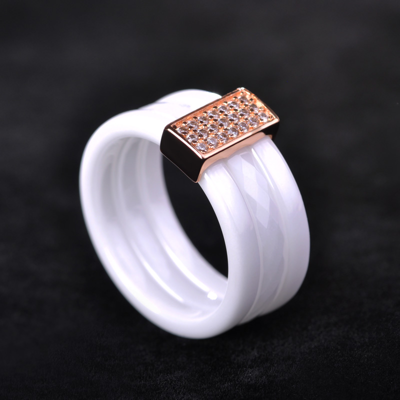 Madrry Perfect Polished Ceramic Rings For Women Man Black White Three Lines Nature Stone Rose Gold color Zircon Ceramica Aros