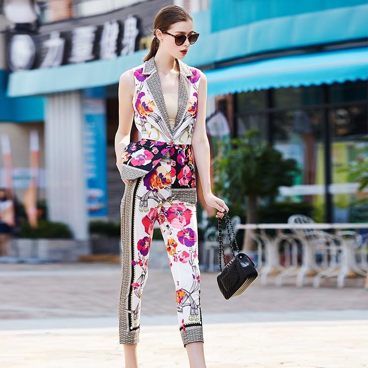Deux Diaminds Les Femmes Pièces Piste Pour Veste Pantalon Marque Designers 2018 Tenues Imprimé Haut Chaîne Costume Et Ensemble rTrCq