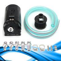 1 Set Aluminum Cylinder Engine Oil Catch Can Tank Reservoir Breather Filter Black