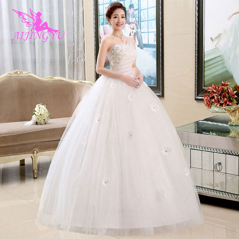 AIJINGYU 2018 Sexy Free Shipping New Hot Selling Cheap Ball Gown Lace Up Back Formal Bride Dresses Wedding Dress WU155