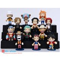 12 Stely Mini Anime One Piece Movable Q ver Stance Seated Posture Luffy Nendoroid PVC Change Face Figure Model Toy 6cm