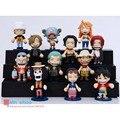 12 Stely Mini Anime One Piece Q Móvel ver Postura Postura sentada Luffy Nendoroid PVC Mudança Face Figura Toy Modelo 6 cm