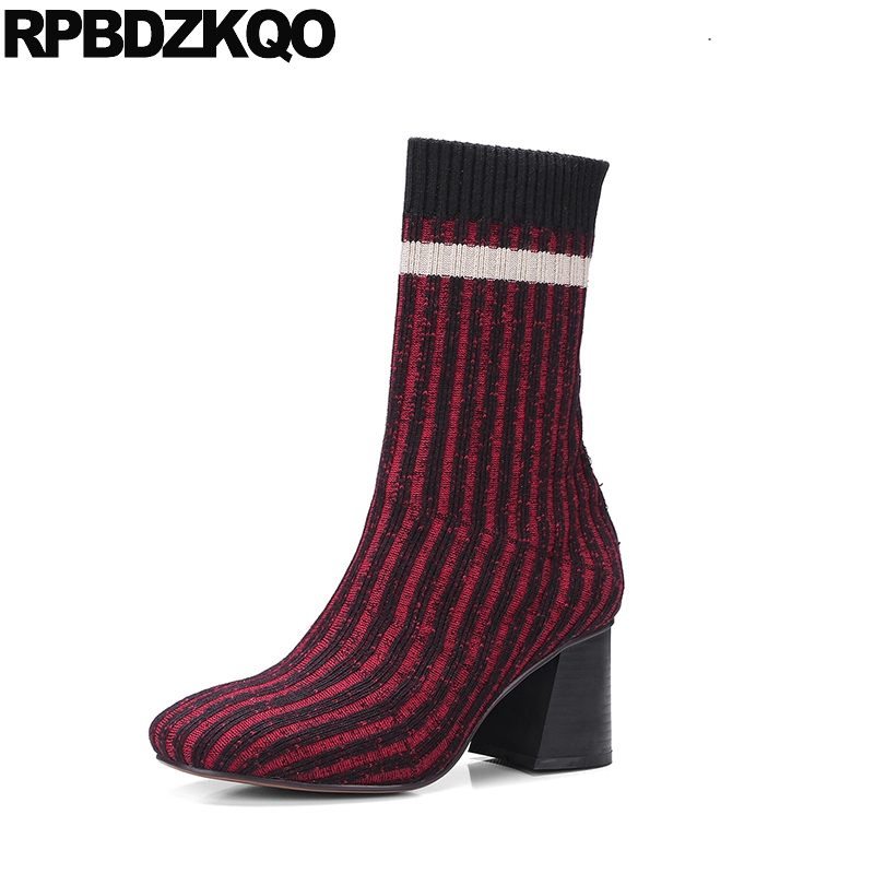 Boots Short Square Toe High Heel Knit Fall Designer Shoes Women Luxury 2017 Sock Stretch Chunky Ladies Mid Calf Wine Red Striped