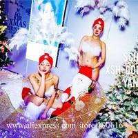 Ночной клуб подиумный показ модели Sexy Lady милые костюмы с украшение на голову с перьями Рождество День Святого Валентина бикини танцевальны