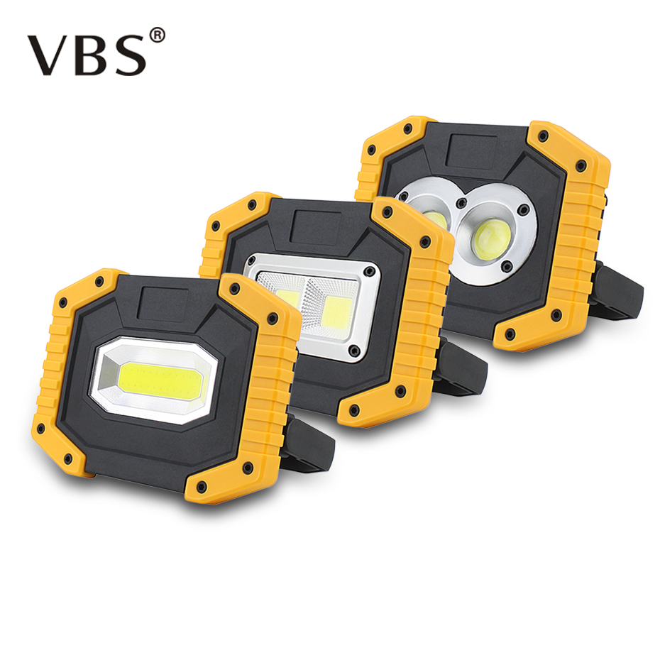 20W COB LED Portable Spotlight Rechargeable Outdoor Working Light For Hunting Camping Lamp Floodlight Searchlight 18650 Battery