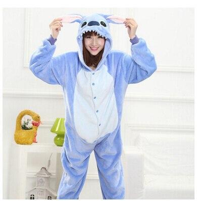 All in One Flannel Anime Pijama Cartoon Cosplay Warm Easy for Bathroom Adult Unisex Homewear Onesies Animal Pajamas Stitch