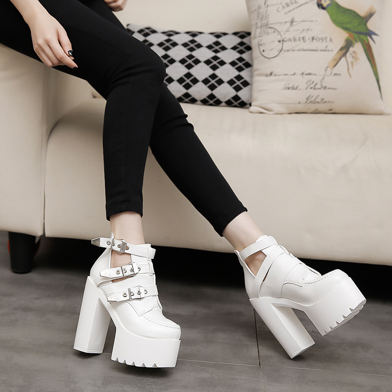 Stilettos Sexy Pumps Women Leather Shoes 2018 Spring Autumn Platform Shoes Women High Heel Prom Party Shoes Ladies 14cm SD 34