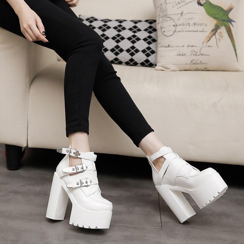 Stilettos Sexy Pumps Women Leather Shoes 2018 Spring Autumn Platform Shoes Women High Heel Prom Party Shoes Ladies 14cm SD 34