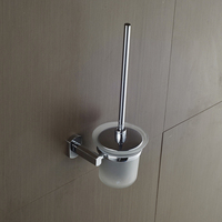 AUSWIND Modern polish 304 Stainless steel silver hardware toilet brush set wall mount toilet brush rack bathroom brush holder