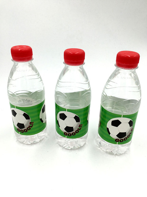 6pcs Lot Football Cups Label Bottle Kids Birthday Party Decoration Water