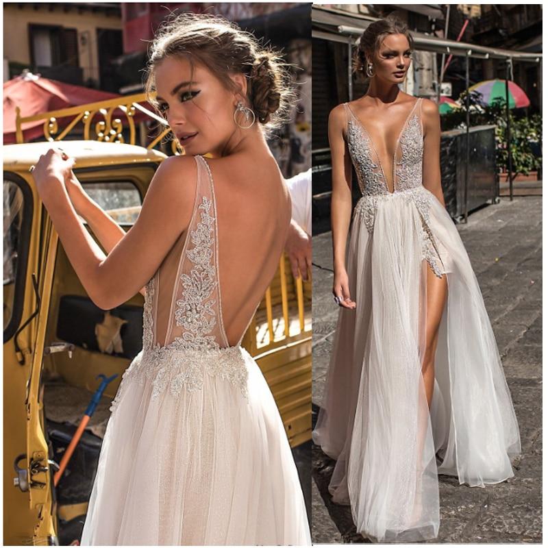 A Line Wedding Dress Backless Lace Bride Dress Sexy Side Split 2019 Lace Appliques Boho Long Bridal Gown