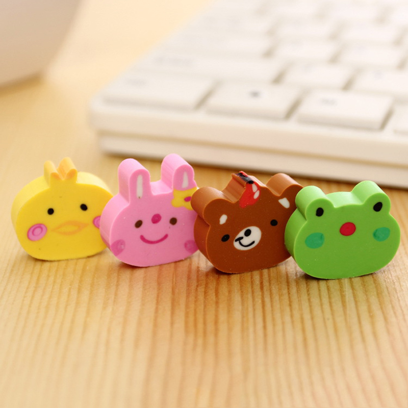 4pcs Creative Stationery Supplies Kawaii Cartoon Pencil Erasers For Office School Kids Prize Writing Drawing Student Gift