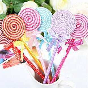 new free shipping candy ball pen/ lollipop ballpoint pens/20pcs/lot kid gift/promotion gift/children's day gift