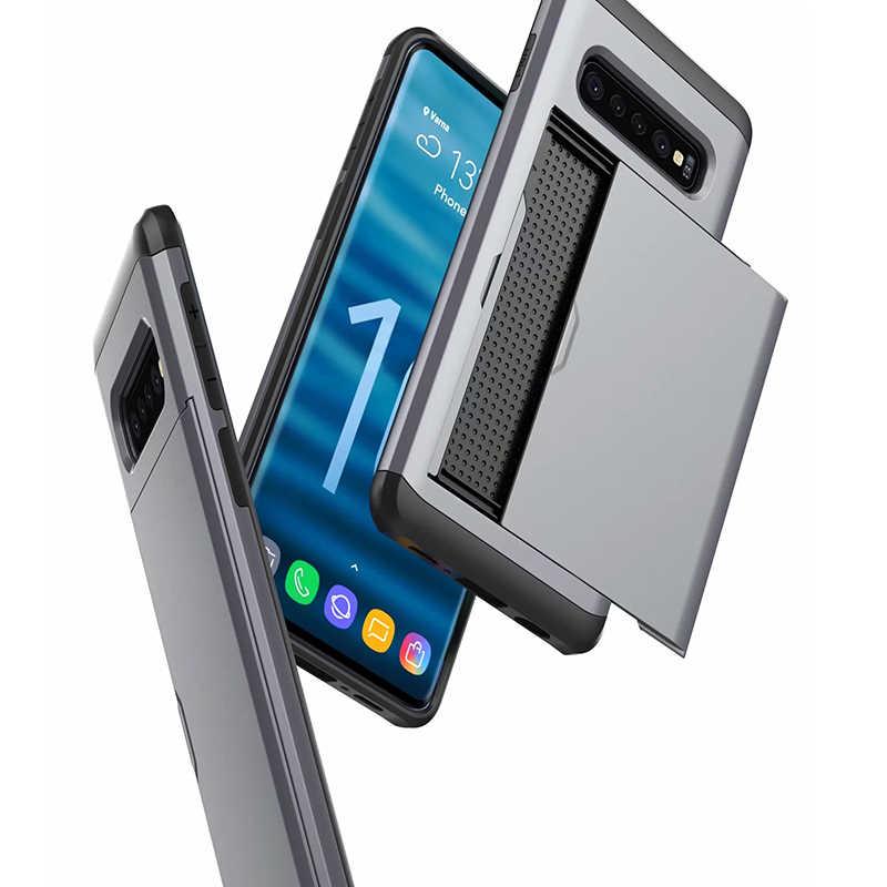 Per Samsung Galaxy S6 S7 bordo S10 S10e S9 S8 Plus Hybrid Duro Scivolo Carta Del Raccoglitore di Immagazzinaggio Armatura di Caso Per nota 9 8 5 4 Coque Copertura