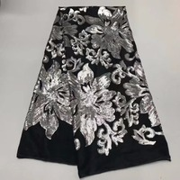 Latest 2018 Nigerian French Mech Lace Fabric Embroidered High Quality African Lace Fabric Lace Fabric For