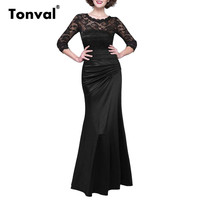 Tonval Women Vintage Floral Lace Ruched Dress 2017 Sexy Backless Long Dress Bridesmaid Elegant Silky Maxi
