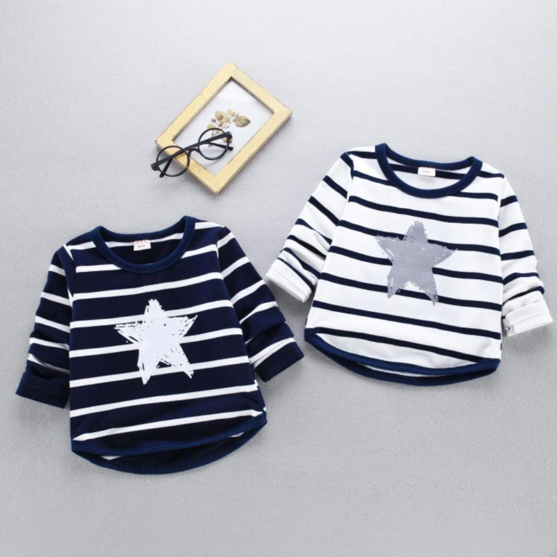 Spring new children thin sweatshirt primer shirt Korean boy 0-3 years old baby plus velvet cartoon wild long – sleeved T-shirt