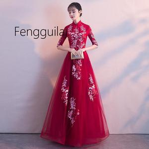 Image 3 - 2019 Truyền Thống Thêu Hoa Sườn Xám Sang Trọng Nửa Tay Phụ Nữ Trung Quốc ĐẦM VINTAGE Phương Đông Cưới Cô Dâu