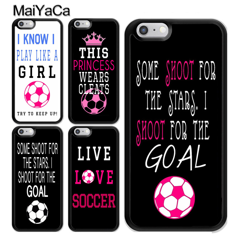MaiYaCa Soccer Girl Quote Pink Ball Futbol TPU Case For iphone X Case For iphone 6S 6 7 8 Plus 5 SE Cover Soft Rubber Phone Case