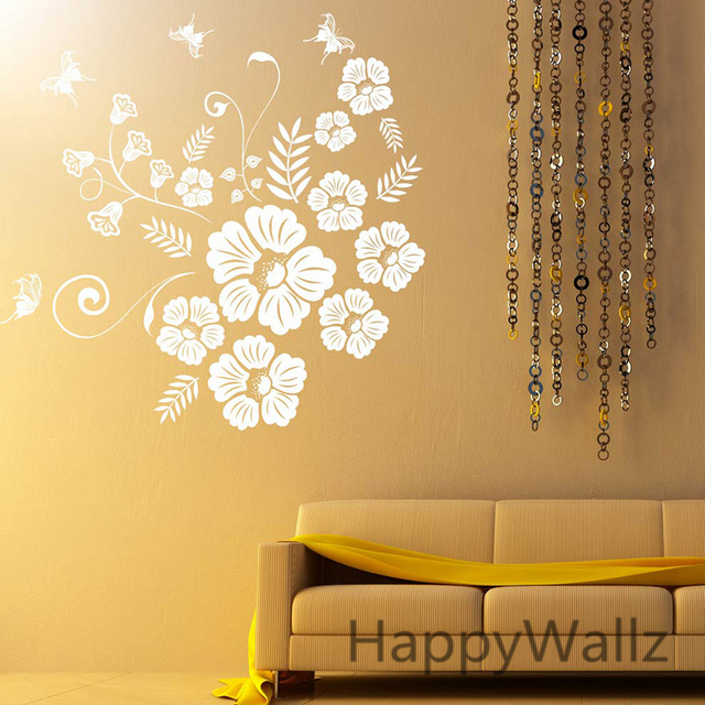 Butterfly Flowers Wall Sticker 3D Flower Butterfly Wall Decal DIY ...