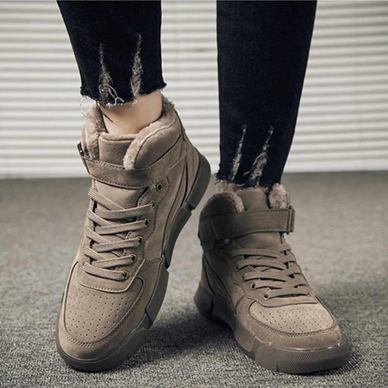 Merkmak Winter Männer Stiefel Plus Samt Warme Turnschuhe Im Freien Wasserdichte Schuhe Männer Hohe Top Leichte Stiefel Feste Schuhe
