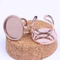 Onwear 5 pièces acier inoxydable plaqué or rose 20mm camée cabochon anneau paramètres de base bricolage ébauches de lunette pour anneaux fabrication de bijoux