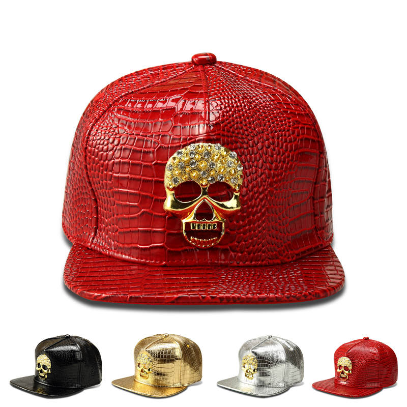 New-PU-black-Baseball-Cap-women-Hats-For-men-Sports-snapback-Gold-plated-Skull-Hip-Pop